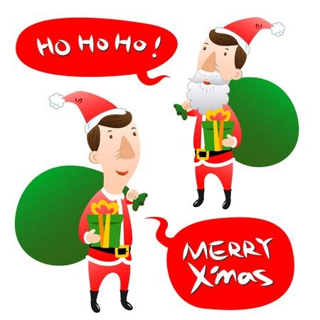 ho: Santa Claus with speech bubble Illustration