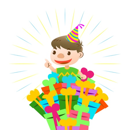 birthday card with lovely kid Stock Vector - 16159886