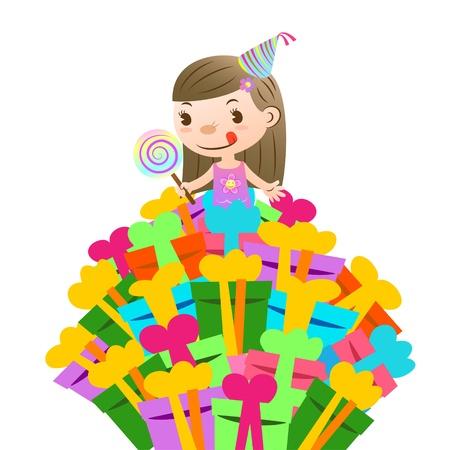 birthday card with lovely kid Vector