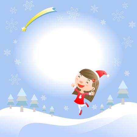 santa girl: Christmas card with cute girl Illustration