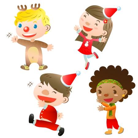 caroling: Christmas children