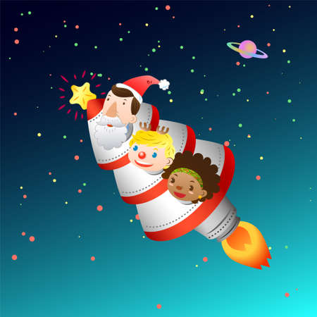 Christmas card with rocket and kids Vector