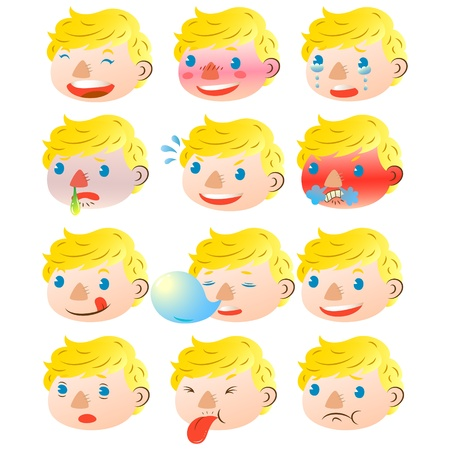 Blond boy facial expressions Vector