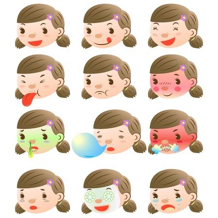 schattig meisje gezichtsuitdrukkingen Vector Illustratie