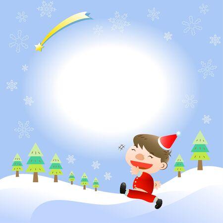 Christmas card with cute boy Vector