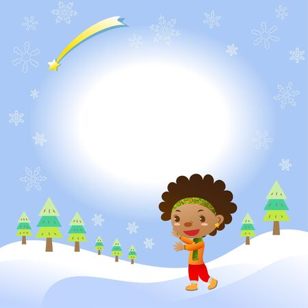 red haired girl: Christmas card with cute black girl