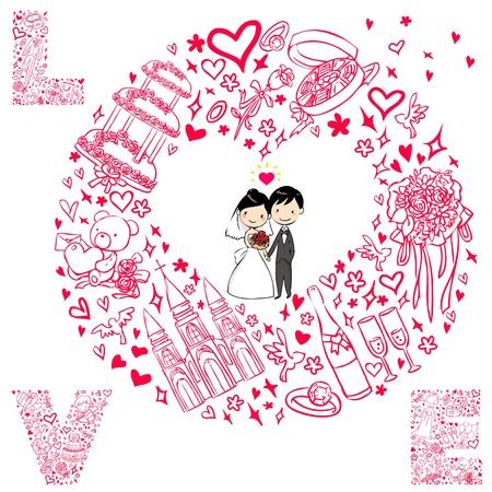 wedding card with wedding set Illustration