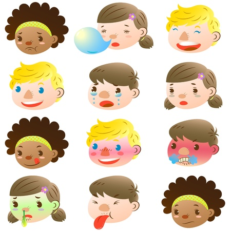 Children of various facial expressions Vector