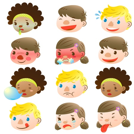 Children of various facial expressions Stock Vector - 16664575