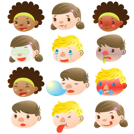 Children of various facial expressions Stock Vector - 16664581