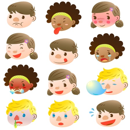 Children of various facial expressions Stock Vector - 16664578