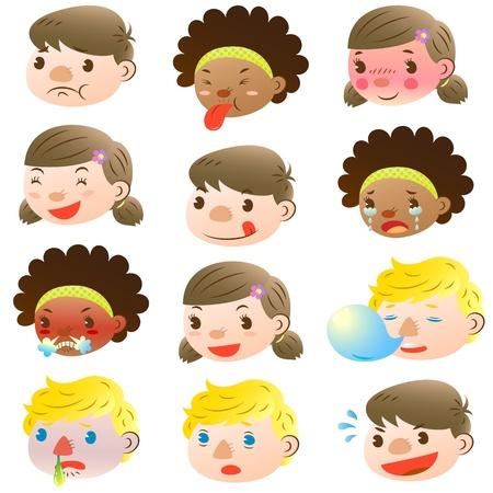 expresiones faciales: Los ni�os de varias expresiones faciales