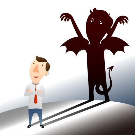 temptation: businessman with dark side