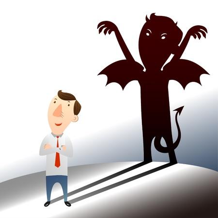 zakenman met donkere kant Vector Illustratie