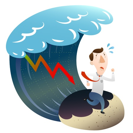 run down: The concept of financial crisis with businessman