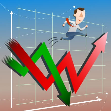 The concept of stock market with businessman Vector