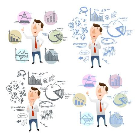 computadora caricatura: hombre de negocios con cartas de mano del doodle