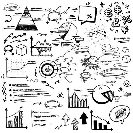 hand doodle charts Vectores