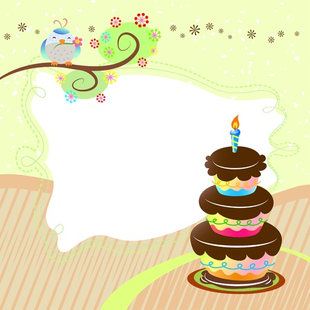 beauty birthday: birthday card with cake and cute bird Illustration