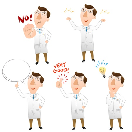doctors and patient: Cinco pose de m�dico