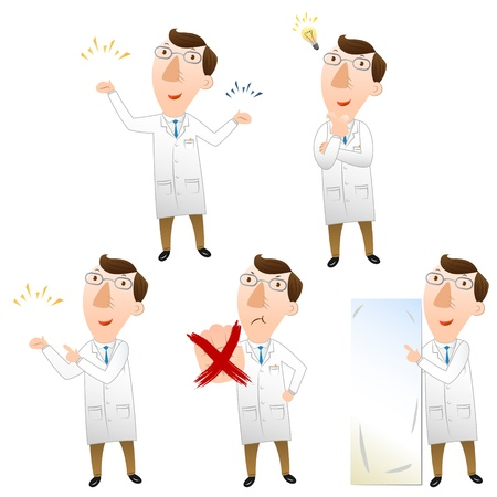 sick people: Five pose of doctor