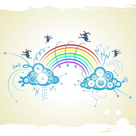 phone system: businessman with rainbow