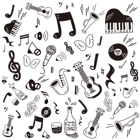 musical: Hand drawn,doodle music icon set