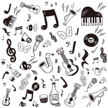 Hand getrokken, doodle muziek icon set