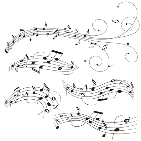 note musicali: Illustrazione di pentagramma su sfondo bianco