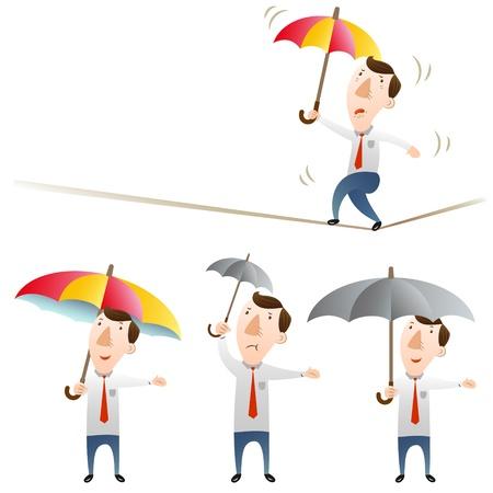 tightrope: businessman with umbrella Illustration