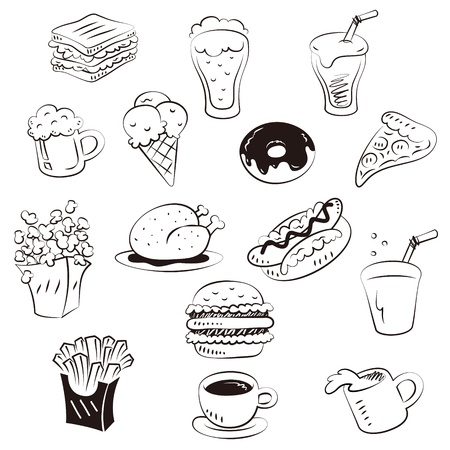 hand draw foods in doodle style Vectores