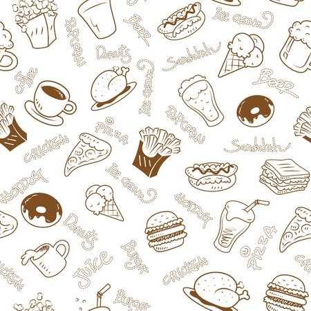 seamless wallpaper with fast food Vector