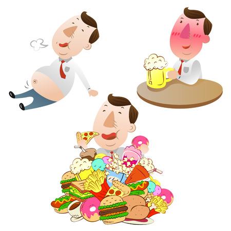 man eten, drinken en eten erg vol Stock Illustratie