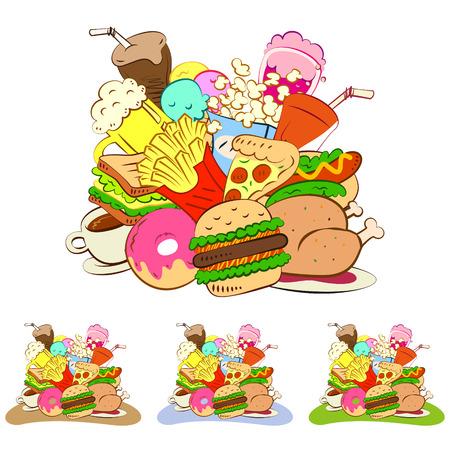 soda pop: fast foods icon set Illustration