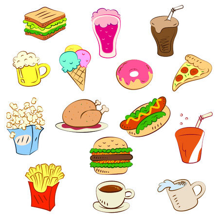 fast foods icon set Vectores