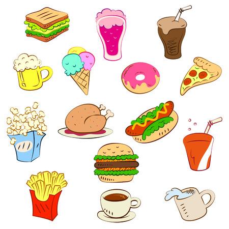 sandwich white background: fast foods icon set Illustration