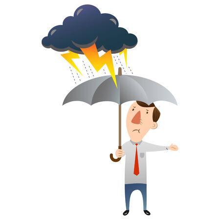 homme avec le mauvais temps