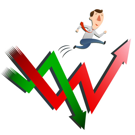 man with stocks rise