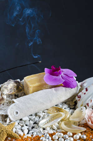 different soaps sorten with mussels photo