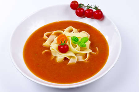 Tomato soup with Pappardelle Stock Photo - 10804400