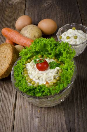 Polish vegetable salads with mayonnaise photo