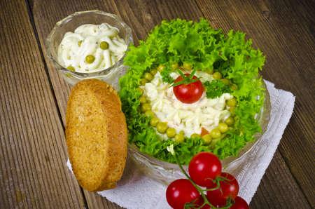 Polish vegetable salads with mayonnaise photo