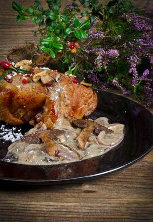 roast with mushroom sauce photo