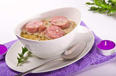 veal sausage: Easter breakfast with Polish veal sausage Stock Photo