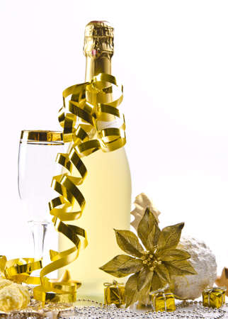 silvester: Champagne, glass and New Years Eve