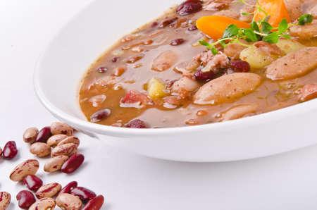 soup spoon: Minestra di fagioli Archivio Fotografico