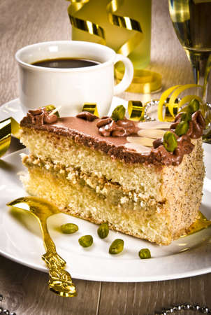 Halva cake, Kaffe and champagne photo