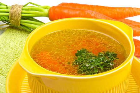 sopa de pollo: caldo claro Foto de archivo