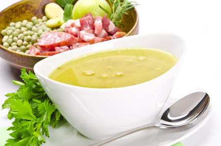 pea soup and ingredients photo