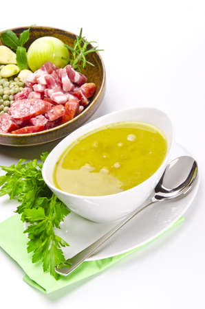 pea soup and ingredients Stock Photo - 12573724